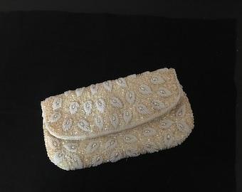 Beaded Bag, Vintage White Evening Bag, La Regale Handbag,White Wedding Purse,Wedding Bridal bag, Beaded Evening Bag, Beaded purse
