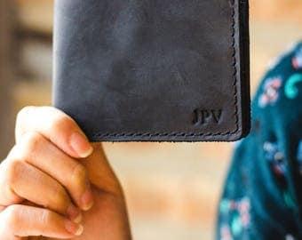 Leather Wallet, Minimalist Billfold Wallet, Distressed Leather Wallet, Minimalist Classic Billfold - Bureau Charcoal Black