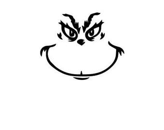 Grinch logo outline laptop cup decal SVG Digital Download Cuttable Files Cricut Silhouette