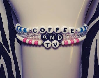 Blur Band Bracelet Set / Damon Albarn / Graham Coxon / Coffee And Tv / Britpop / Blur Bracelets / Seed Bead Bracelets / Gorillaz Jewelry