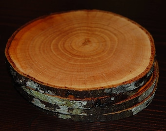 4 Finished Wood Coasters, Gift for Him, Rustic Wood Slice Coasters, Wood Drink Coasters, Beverage Coasters