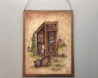 9x7 Still Waiting - Bears Country Outhouse Bathroom Home Decor Sign with Choice of Black Wire or Brown Ribbon for Easy Hanging
