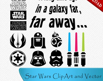 Star Wars Silhouette, Star Wars Characters, Star Wars svg, Star Wars set, Star Wars Clipart, Cut, Vector digital, svg, dxf, eps, png