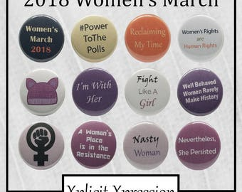 "Women's March (2018) 1"" Pinback Buttons"