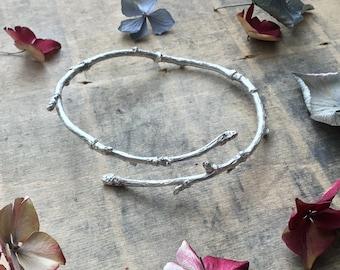 Sterling silver twig bangle, nature bangle , botanical bangle, branch bangle