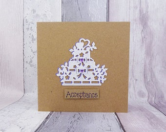 Wedding RSVP card, Wedding acceptance card, Handmade acceptance card, Wedding cake card, White wedding cake card, Happy couple card