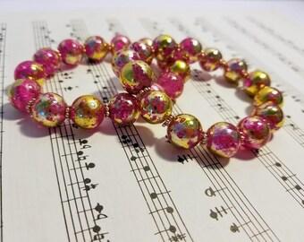 Pink n Gold Speckled Glass Bead Bracelet Pair, Two Bracelets, Matching Bracelets, Pink Glass Beads, Pink and Gold Beads, Cute Bracelets
