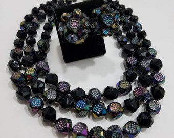 Fun & Gorgeous!  Multi-Strand Beaded Necklace and Matching Clip Earrings from Western Germany