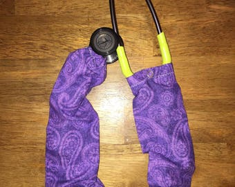 Purple paisley stethoscope cover