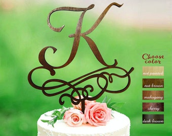 Letter k cake topper, Wedding Cake Topper, Gold Initial Cake Topper, Single Letter, Rustic Cake Topper Wooden, Monogram Cake Toppers, CT#302