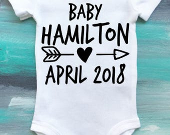 Baby Announcement bodysuit, Pregnancy announcement, New baby