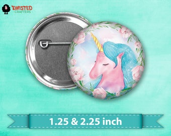"Heavenly Dreams Unicorn Pin Back Button, Flair, 2.25"" button, 1.25"" button, Button Party Favors, Birthday Party Favors, Badge Buttons"