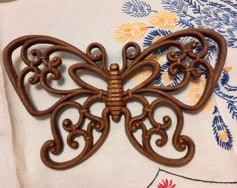 Vintage Butterfly Wall Art / Faux Bois Butterfly