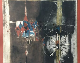 """signed Johnny Friedlaender limited edition etching 22 x 30"""" mid century modern abstract"""