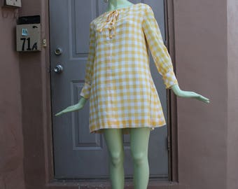 1960s Vintage Yellow Gingham Tent Dress Small or Extra Small