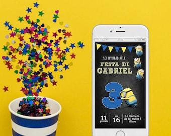 Invito Minions - Invito Digitale Minions - Compleanno Minions - Invito compleanno whatsapp - Invito smartphone