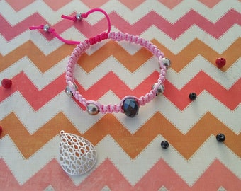 Two-tone dark and light pink shamballa bracelet