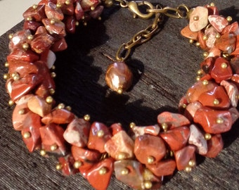 Natural jewelry jasper brown red bracelet handmade gift for her unique jewelry birthstone bracelet jewelry
