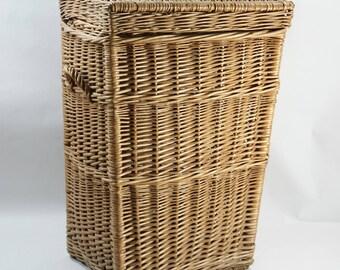 Vintage Wicker Laundry Basket, Wicker Hamper Basket w/ Handles, Wicker Storage Basket, Basket w/ Lid, Flat Top, Hall Closet Laundry Basket