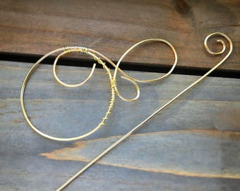 Golden Spiral Wire Wrapped Hair Barrette
