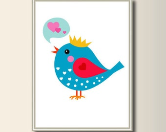Bird, art print, art print, children's room art, minimalist printing, Scandinavian printing, abstract poster, minimal print