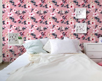 Floral Removable Wallpaper Hibiscus Flowers and Butterflies Temporary Self Adhesive Wall Covering Tropical Hand drawn CC053