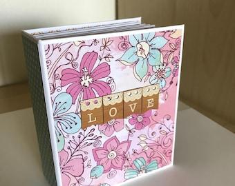 Handmade premade scrapbook album, birthday girl, floral album, memory book, brag book, gifts for her, instax photo album, ready to ship