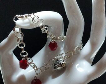 Double ring charm bracelet
