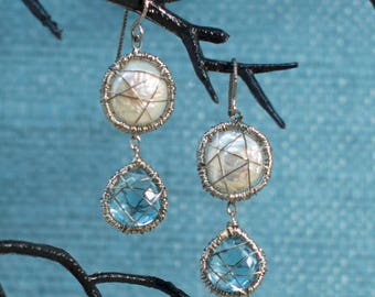 Coin Pearl and Blue Topaz Drop earrings in Silver