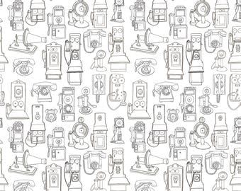 Old Fashioned Telephones Wrapping Paper A1