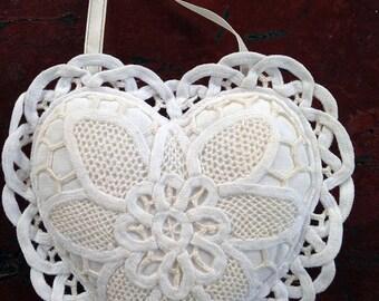 Vintage Battenburg lace heart sachet for Wedding or Valentines