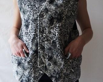 Patterned Vintage Vest Velvet Vest Ornamented Vest Classic Vest Waistcoat Large Size Vest Black and White Vest Waistcoat