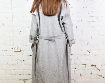 Linen bathrobe, linen robe, bath robe, long linen robe, woman linen robe, bath linen, kimono bath robe,white linen robe/LW0005