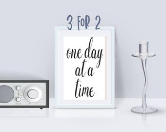 AA Recovery print, Alcoholics Anonymous motto quote, 'one day at a time' Printable AA Slogan, 3 for 2 offer, 12 step programs quote, OA na
