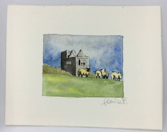 Watercolor of Ireland with Castle and sheep grazing country rustic place view holiday gift for her hand-painted miniatures
