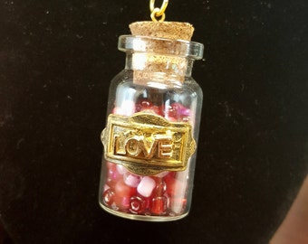 Love Potion glass bottle necklace