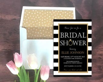 Wedding Bridal Shower Invitation // Shower Invitations // Bridal Shower // Wedding Stationery // Striped // Gold