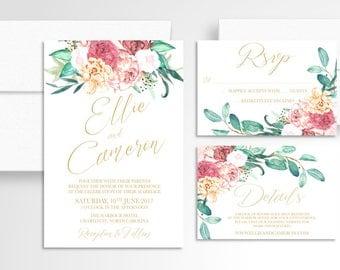 Bright Floral Wedding Invitation // Romantic Invitation Suite // Wedding Invitations // Wedding Stationery // Boho // Modern // Gold
