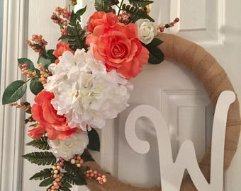 Summer|Spring| Monogram| Wreath|Burlap