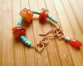 Copper, carnelian and genuine turquoise bracelet