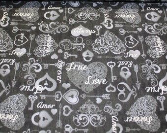 cotton fabric by the meter, 100%, love, heart, black grey