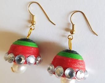 Handcrafted Quilled Jhumka earrings