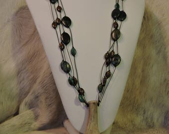 Antler Jewelry - Real Deer Antler - Huntress Jewelry - AK Creations Designs - Horn Necklace - Antler Art - Beaded Leather Necklace - Bone