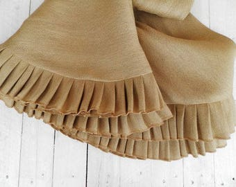 Queen size  bed skirt from italian burlap - 60''x80'' natural bed skirt - rustic bed skirt - Ruffled bed skirt -Dust bed skirt - choose drop