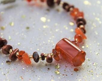 Fire Gemstone Bracelet | Orange Gemstone Bracelet | Red Orange Wire Chunky Bracelet | Orange Women's Jewellery Gifts | Gemstone Jewelry