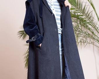 Vintage wool coat•Vintage cloak•Long coat•Great coat•Womens Maxi coat•Steampunk clothing women•Vintage clothing•Coat with hood•Corduroy coat