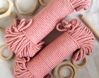Blush Pink* macrame cord, 5mm, 60 meters, 200 feet, cotton rope, coloured rope, pink rope, macrame supplies, tapestry supplies, basketry