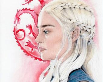 Art print A3/ 11,5 x 16,5 - Daenerys Targaryen Games of thrones Emilia Clarke portrait