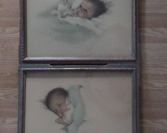 """Framed Antique Lithographs, Art Prints 1920's Bessie Pease Gutmann Artwork """"Awakening"""" #664 """"A Little Piece of Heaven"""" #650 Original Frames"""