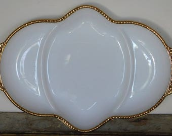 Fire King Gold Trim Divided Oval Tray